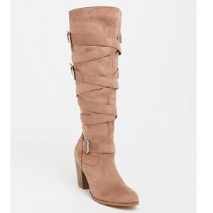 TORRID tan strappy heeled boots size 11 wide